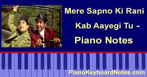 Mere Sapno Ki Rani Piano Notes
